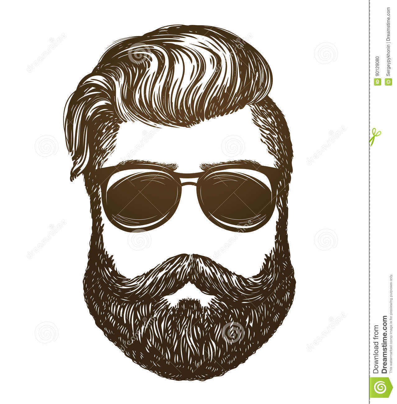 cf045fcd181 Hand Drawn Portrait Of Man With Beard. Hipster