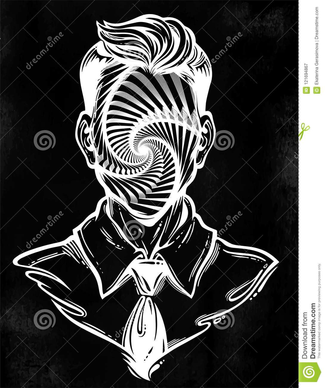 portrait of a weird man with anonymous face noir retro style with