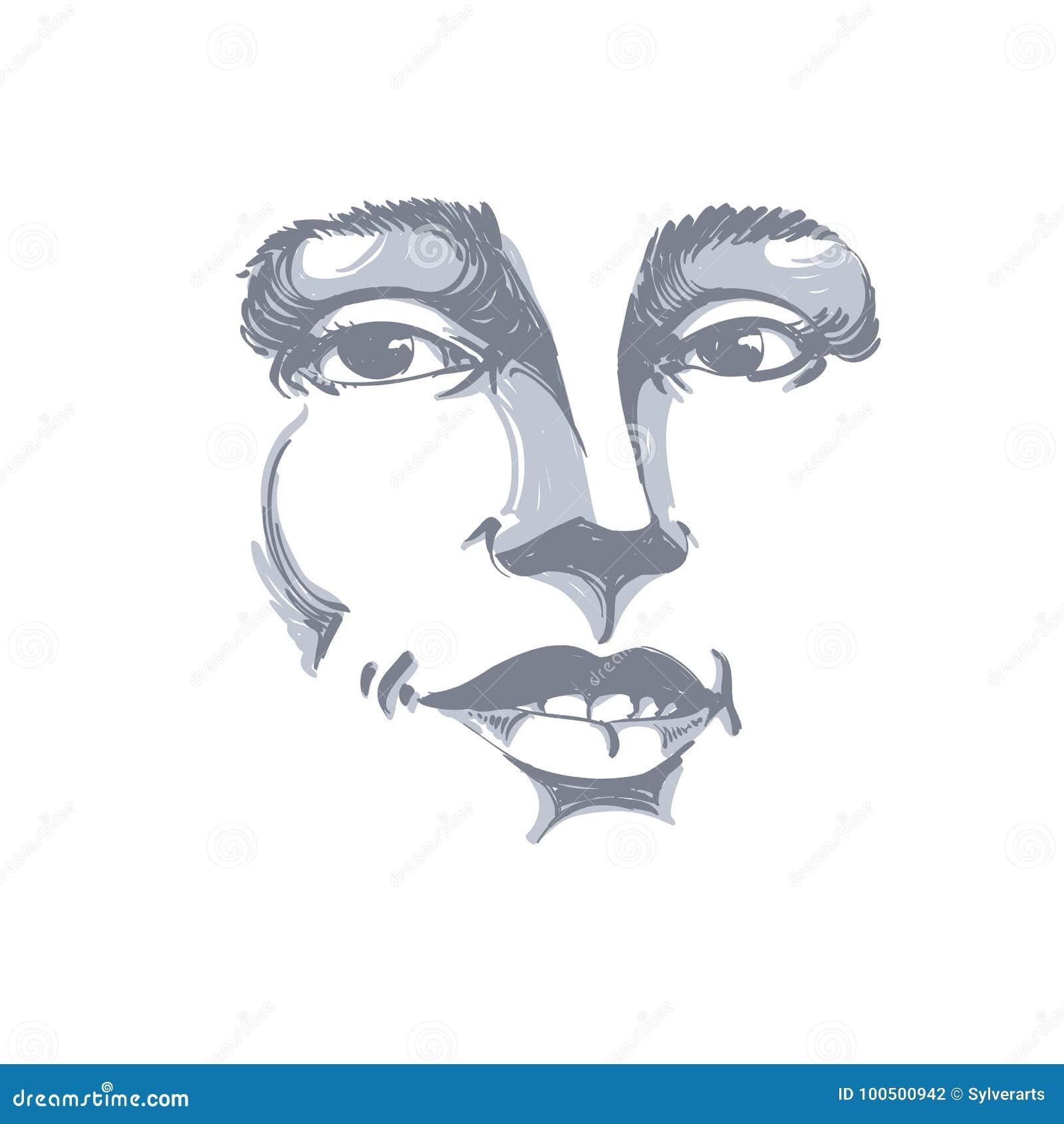 Hand-drawn portret van wit-huid flirtende vrouw, gezichtsemoties