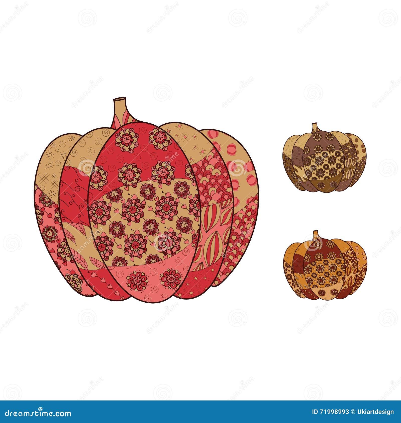 Hand drawn pumpkin set stock illustration image of card
