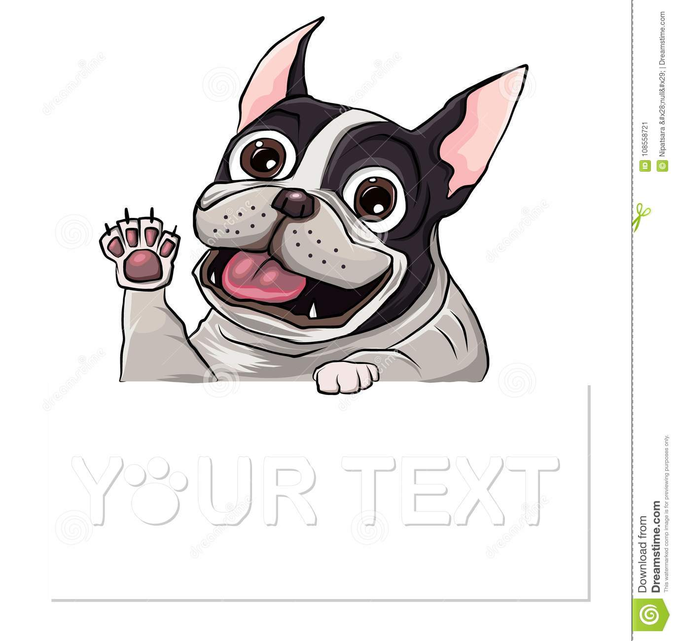 Hand Drawn Puppy French Bulldog With Place For Text Vector Cartoon