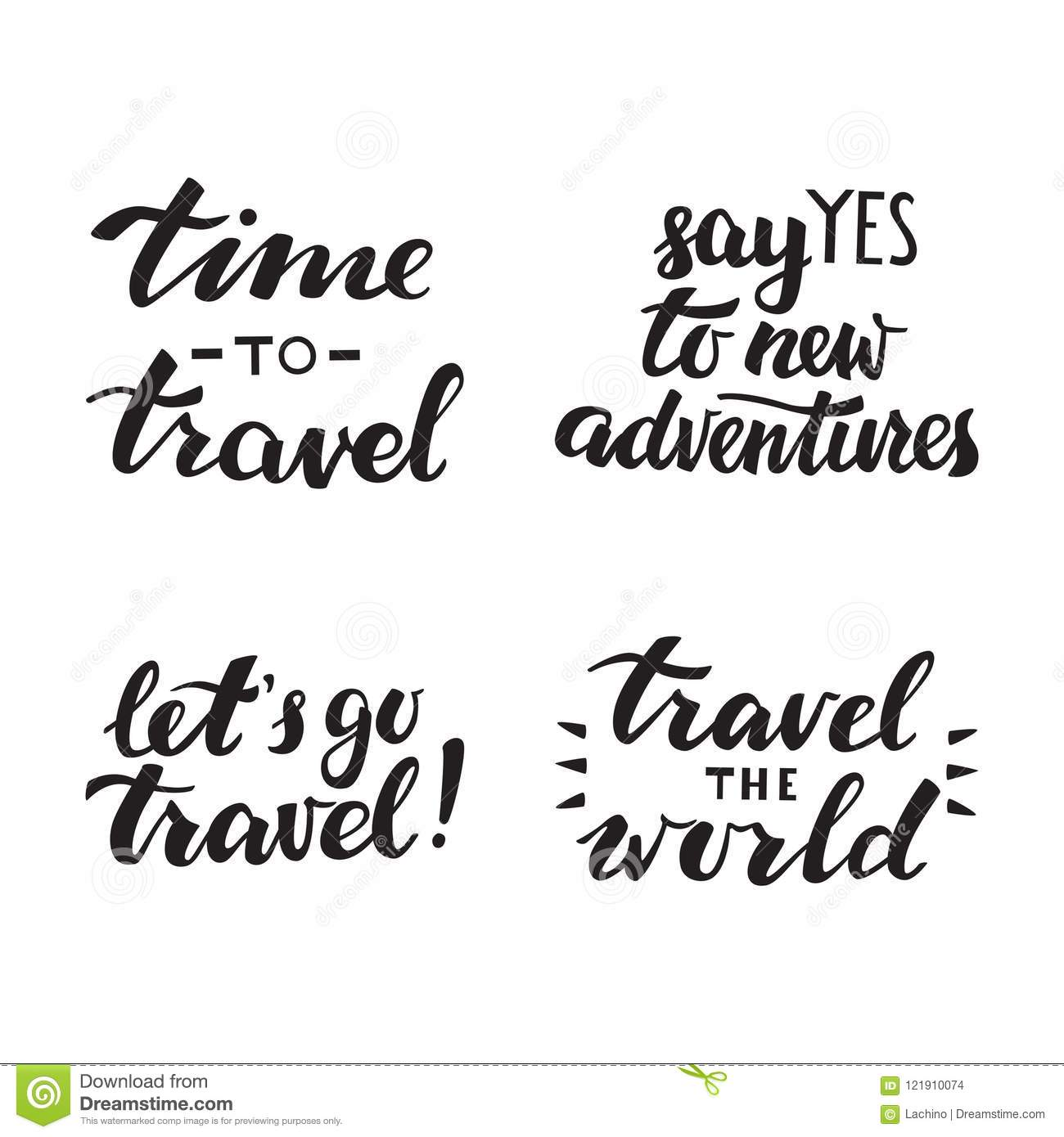 Hand Drawn Quote About Travel And Adventure Handlettering Isolated