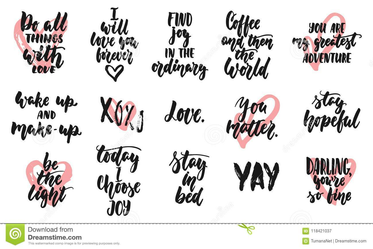 Hand Drawn Quotes Lettering Different Phrases Set About Love And