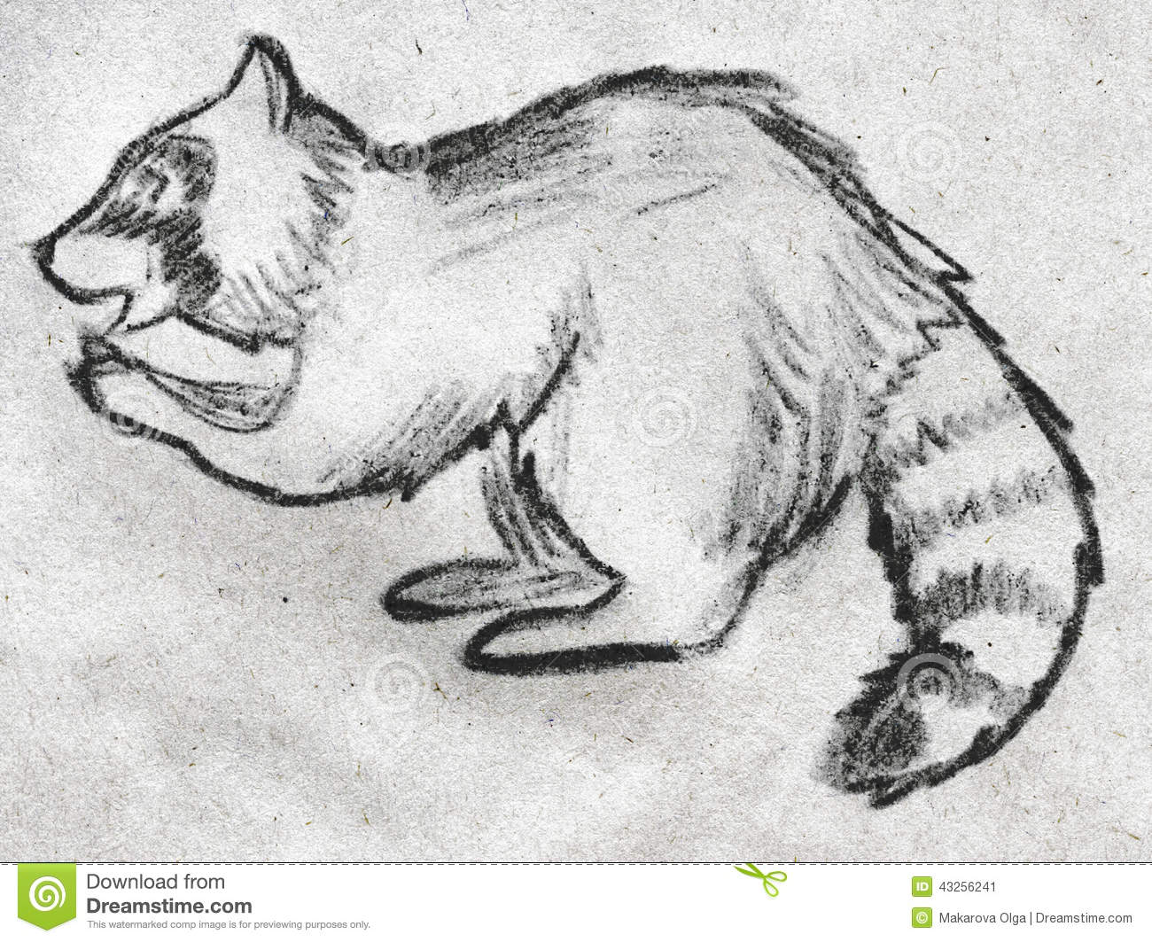 Hand drawn pencil sketch of a raccoon eating something side view