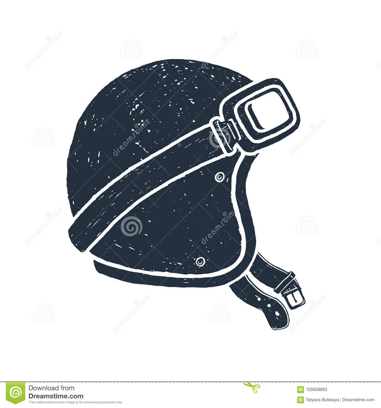 Hand drawn racing helmet vector illustration.