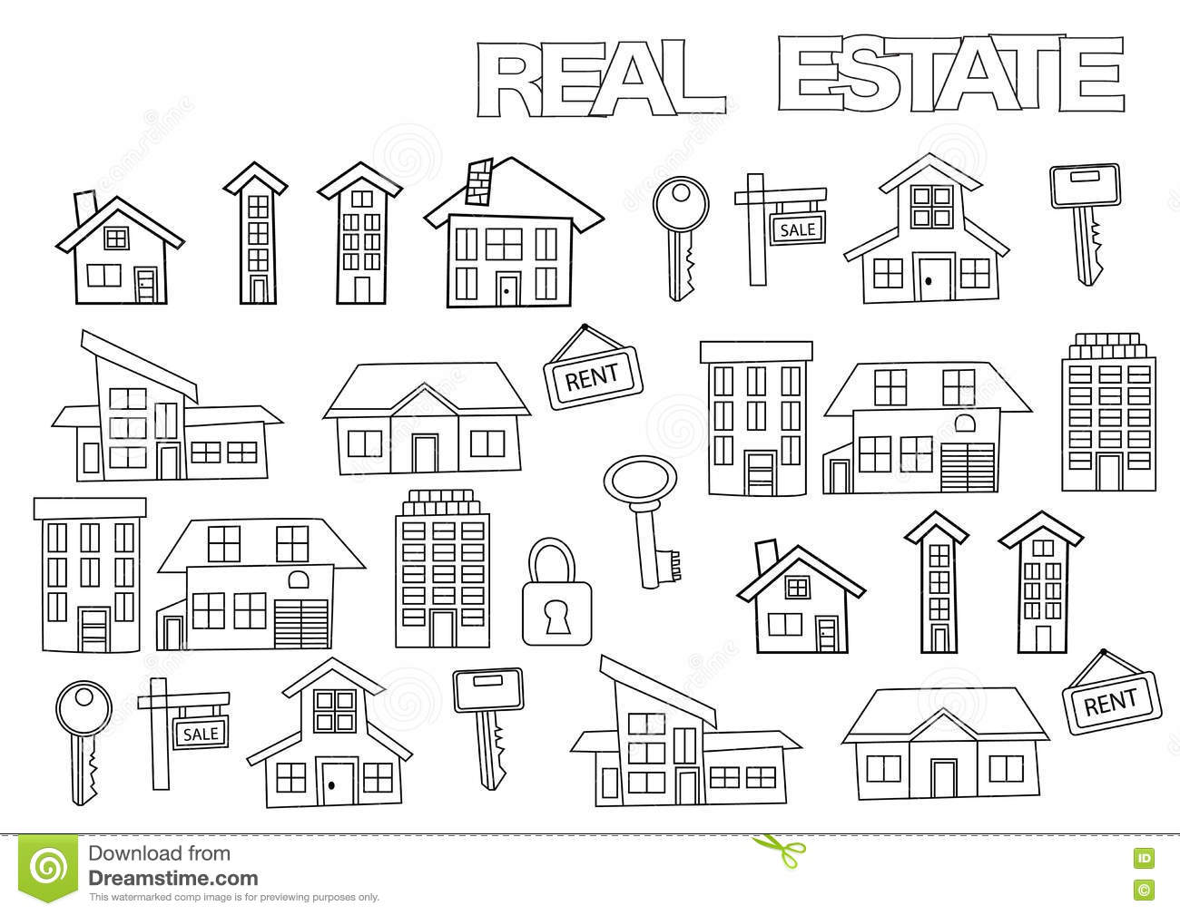 Coloring book real estate - Hand Drawn Real Estate Set Coloring Book Page Template