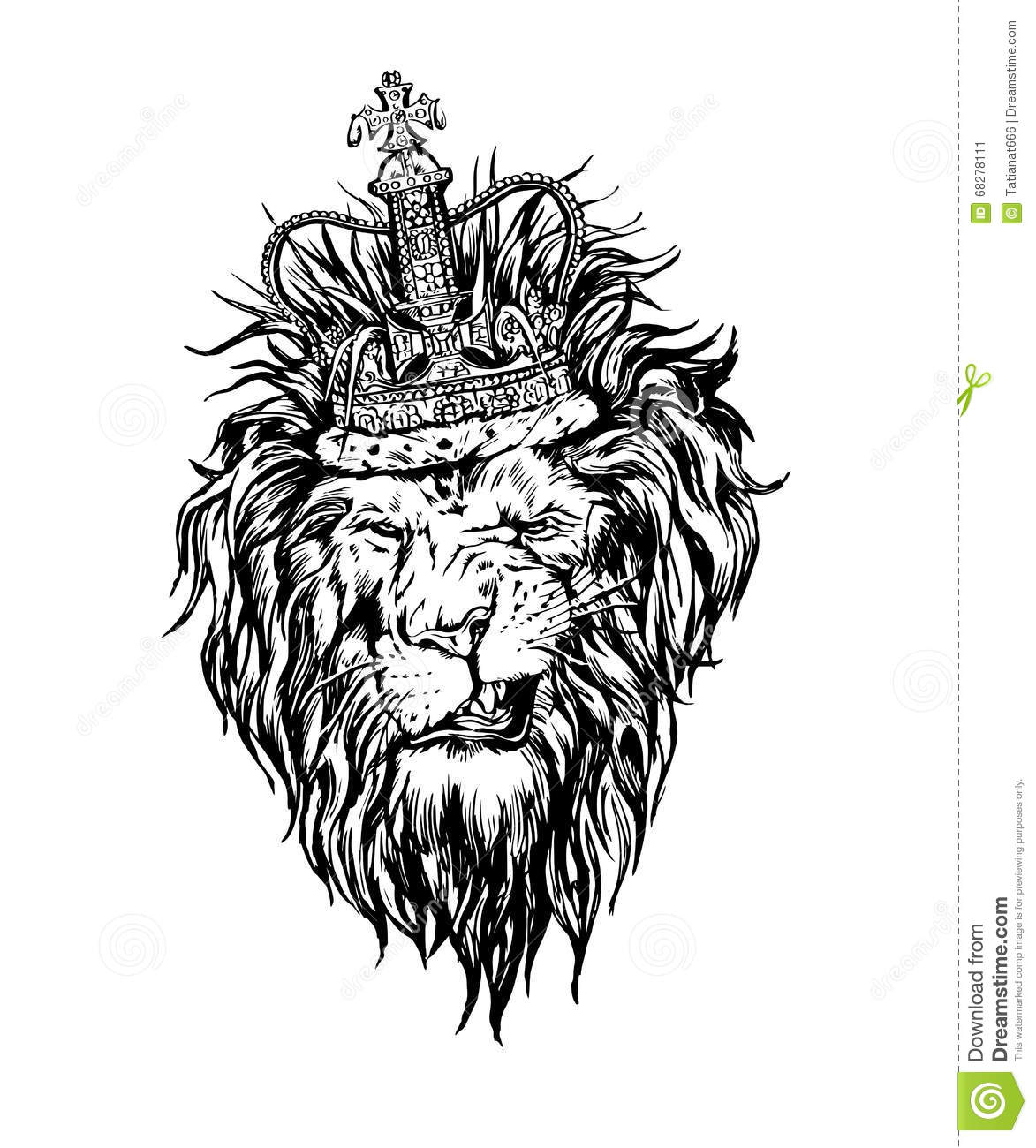 Lion With Crown Wallpaper Lion With Crown Tattoo Design: Hand Drawn Realistic Lion In Crown Character. Stock Vector