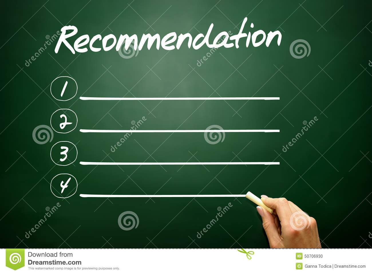 It Recommendation: Hand Drawn Recommendation Blank List Concept On Blackboard