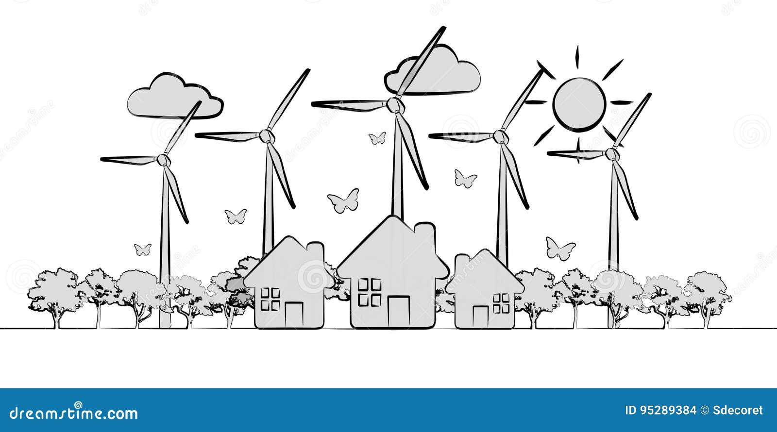 Hand-drawn renewable energy sketch