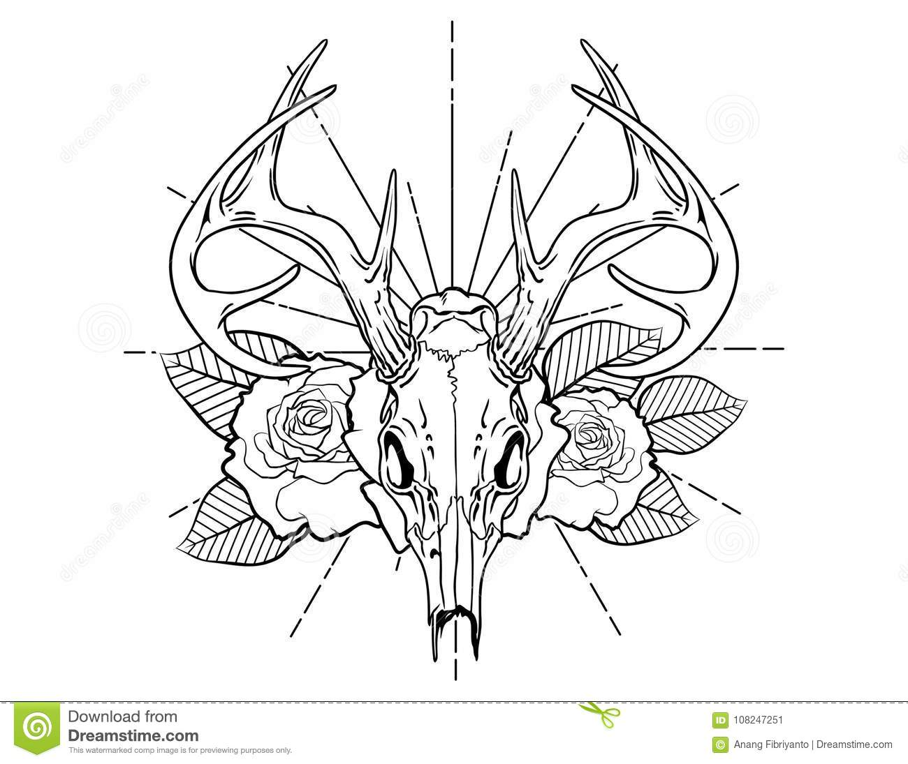 Deer Skull Tattoo Sketch With Roses And Leafes Vintage Neo