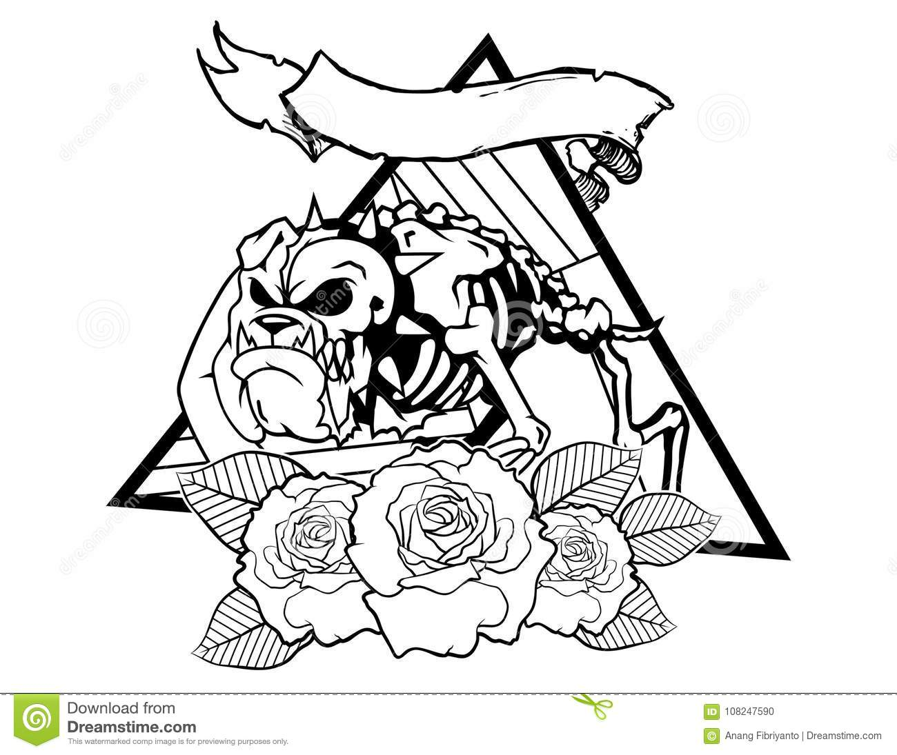 Dog Bones With Flower And Leafes Vintage Neo Traditional Tattoo