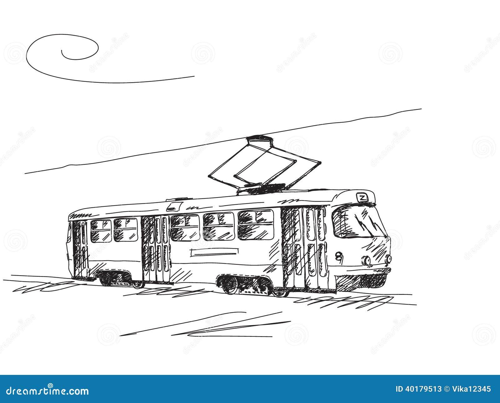 Hand drawn retro tram