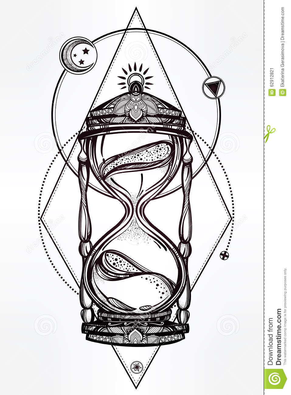D Line Drawings Ideas : Hand drawn romantic design of a hourglass stock vector