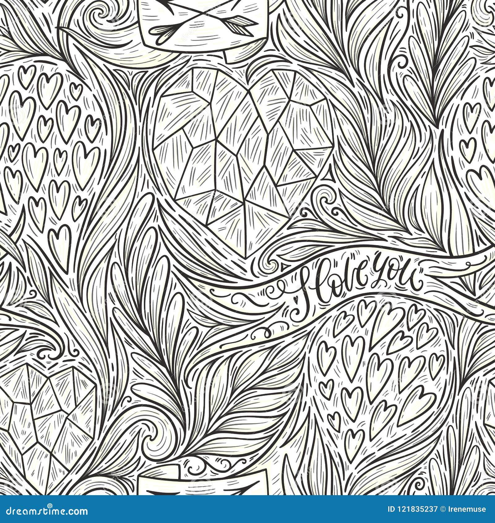 hand drawn romantic doodle seamless pattern decorative hearts