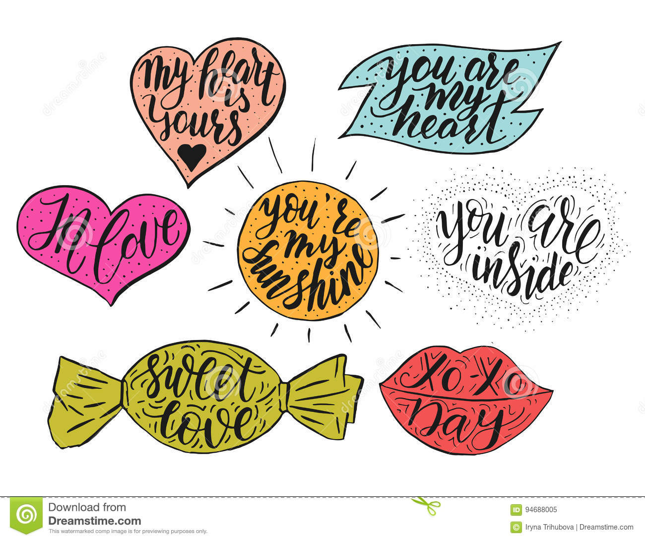Hand Drawn Romantic Vector Quote Set In Different Shapes