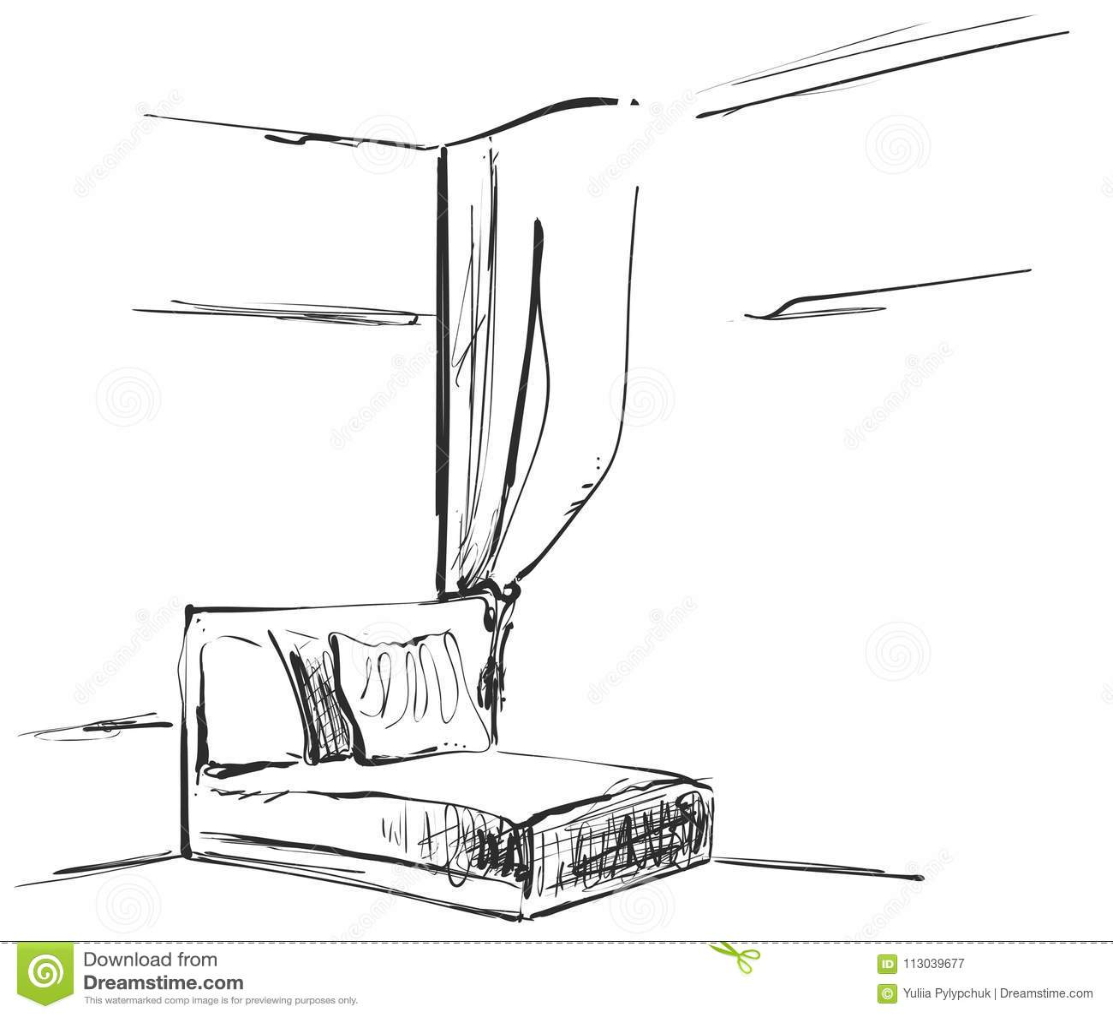 Hand Drawn Room Interior Sketch. Chair, Sofa, Curtains
