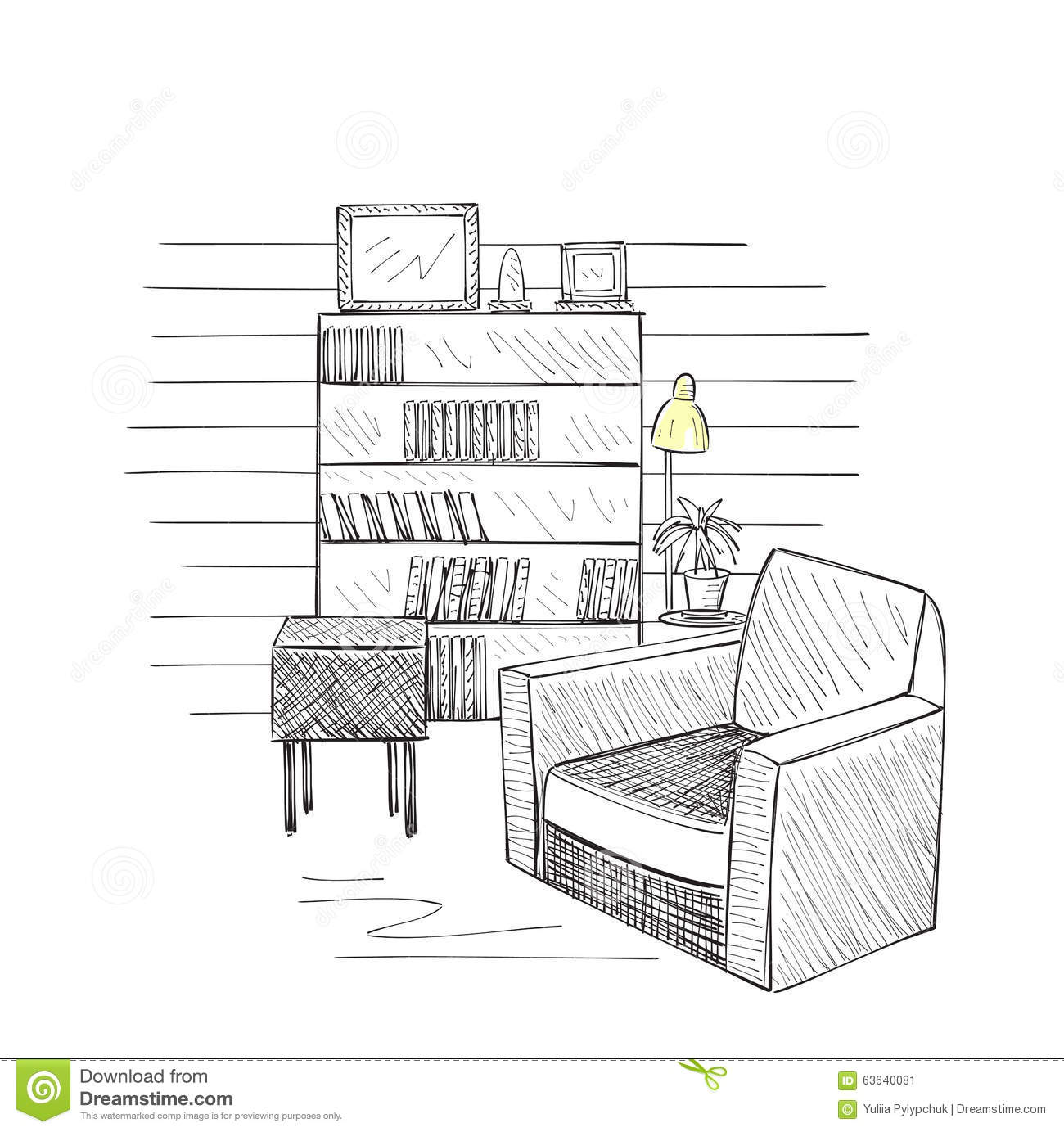 Hand Drawn Room Interior Sketch Stock Vector
