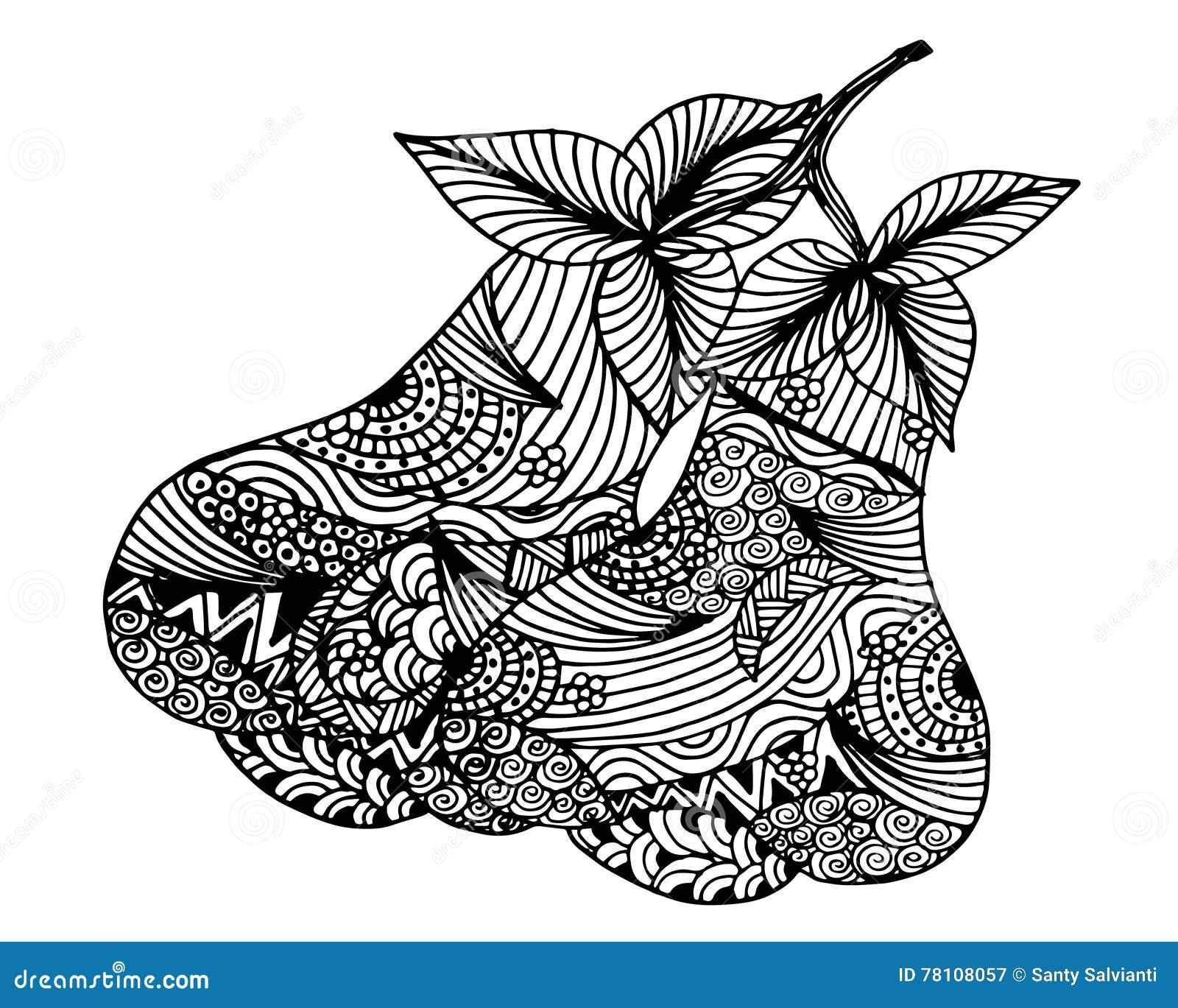Hand Drawn Rose Apple Fruit Doodle Illustration Stock Illustration