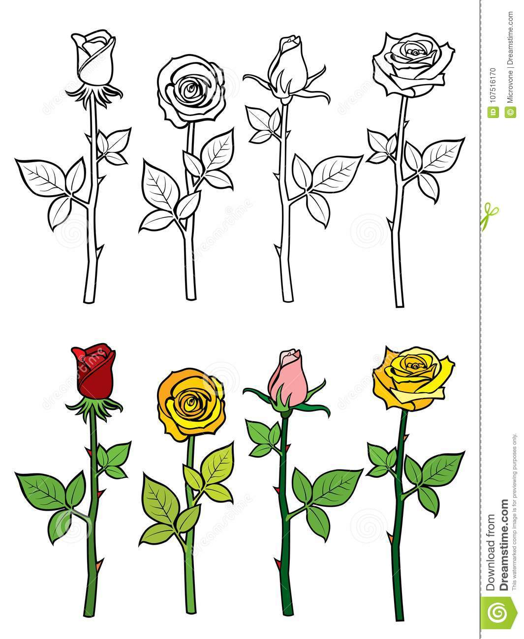 hand drawn rose coloring page stock vector illustration of doodle