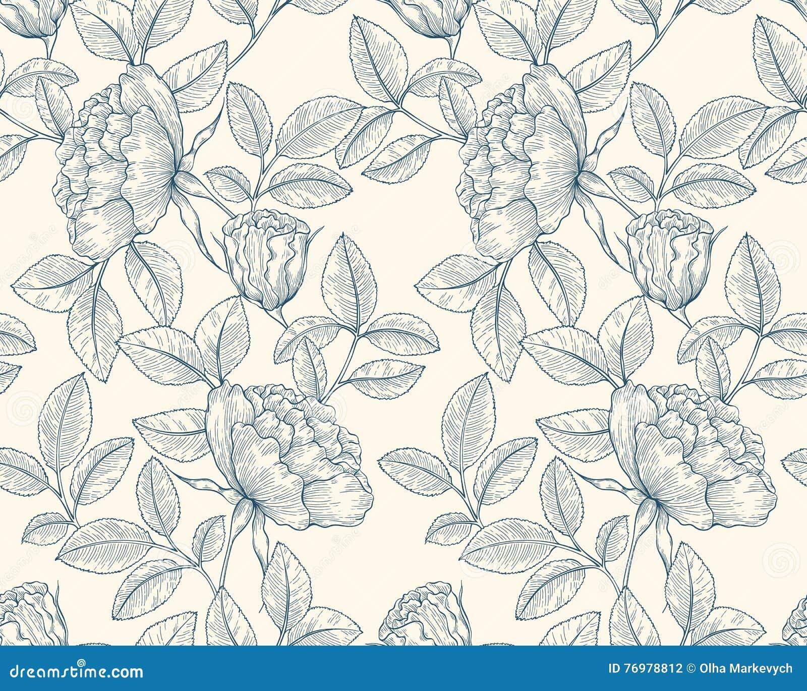 Line Art Flower Pattern : Hand drawn rose garden stock vector image