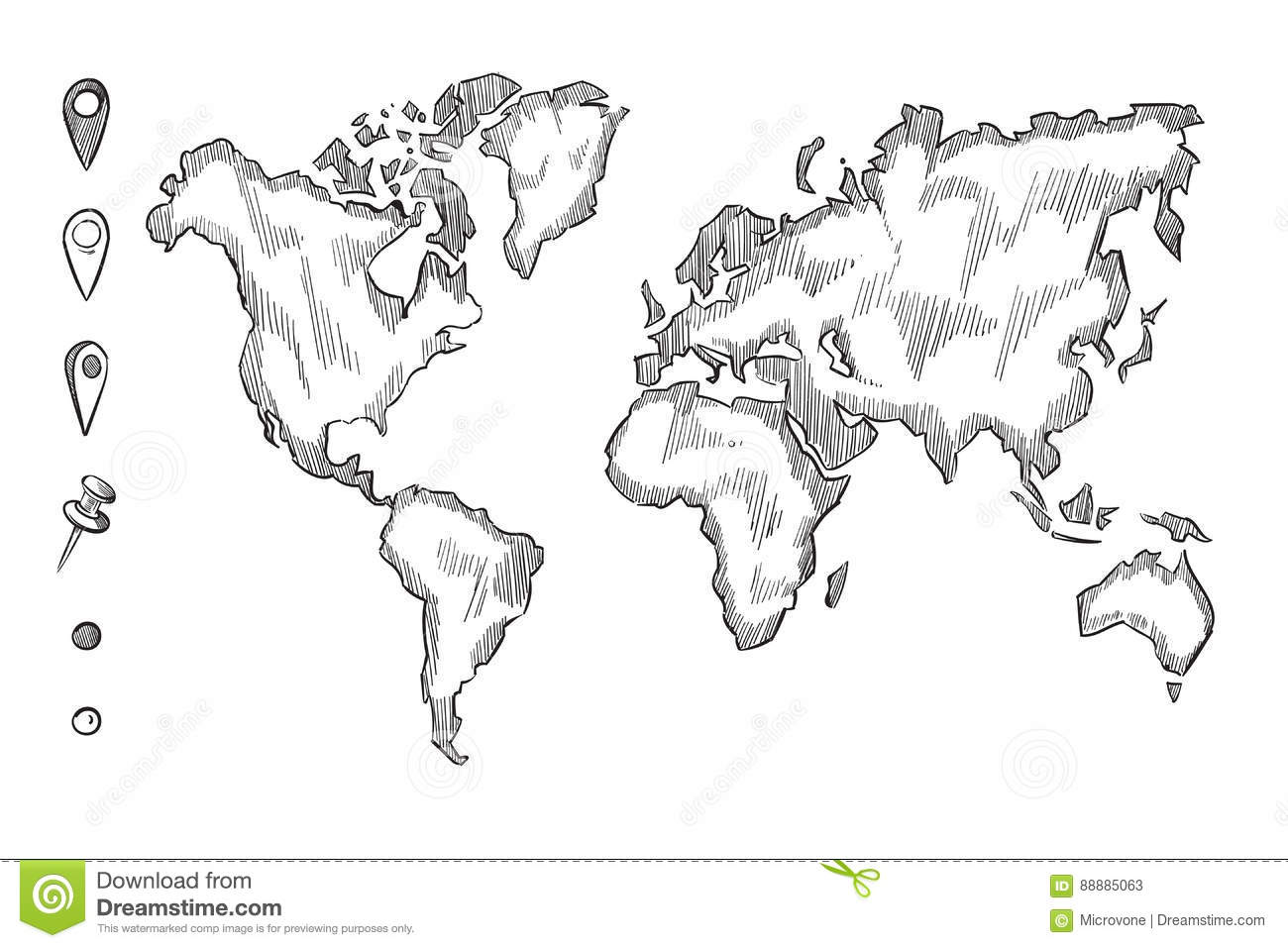 Hand drawn rough sketch world map with doodle pins stock vector hand drawn rough sketch world map with doodle pins gumiabroncs Images