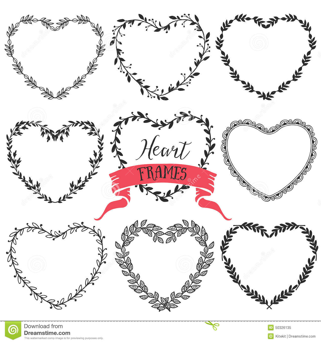 Download Hand Drawn Rustic Vintage Heart Wreaths Floral Vector Graphic Stock