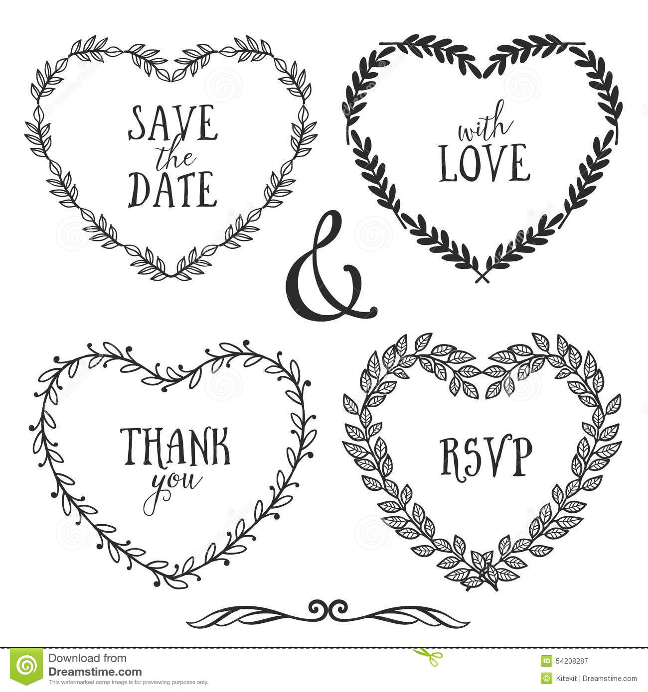 Hand Drawn Rustic Vintage Heart Wreaths With Lettering Stock Vector