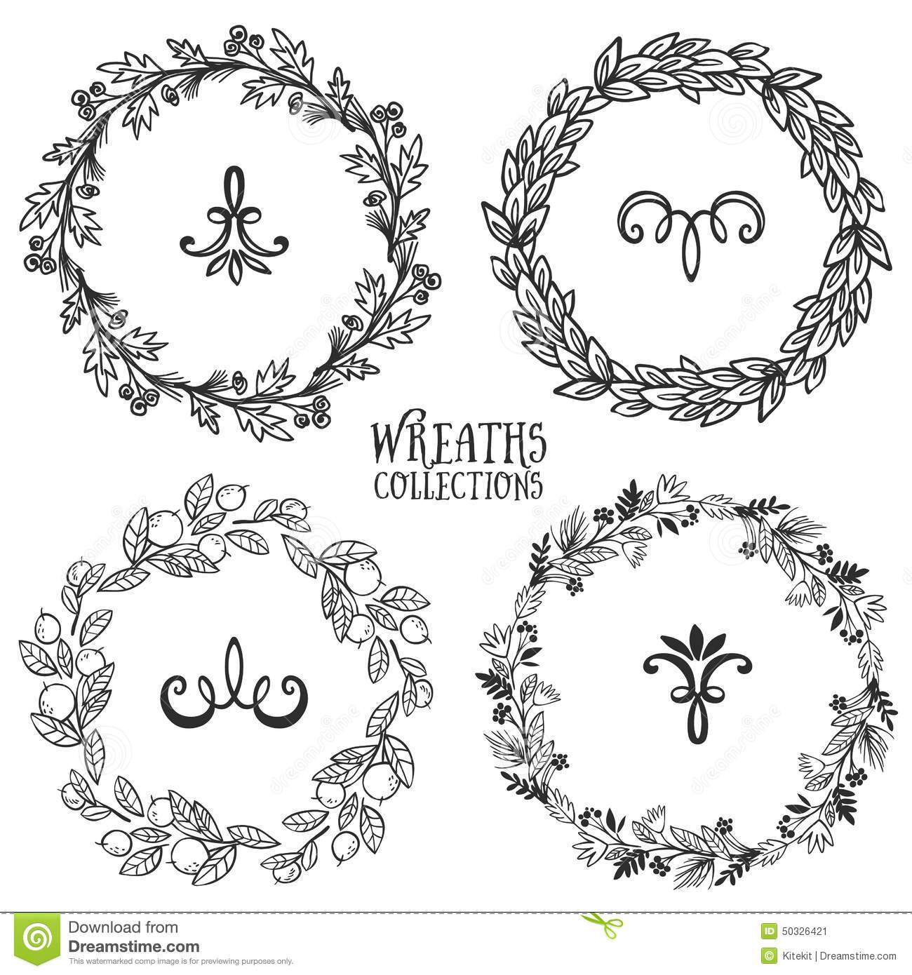 Hand Drawn Rustic Vintage Wreaths With Curls. Floral ...