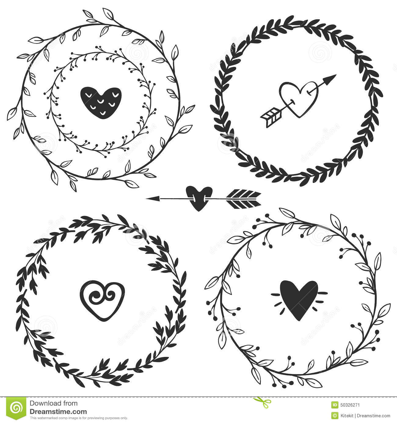 Download Hand Drawn Rustic Vintage Wreaths With Hearts Floral Vector Stock