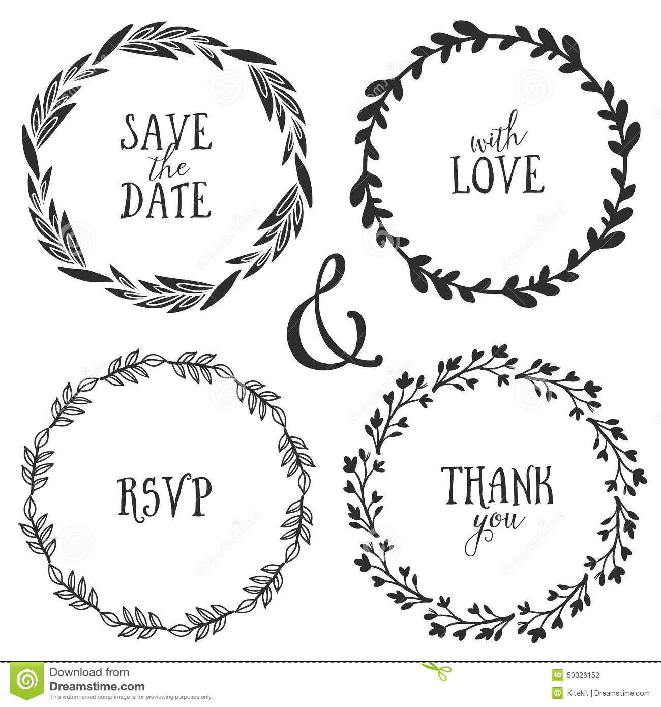 Hand Drawn Rustic Vintage Wreaths With Lettering Floral Vector Stock Photography