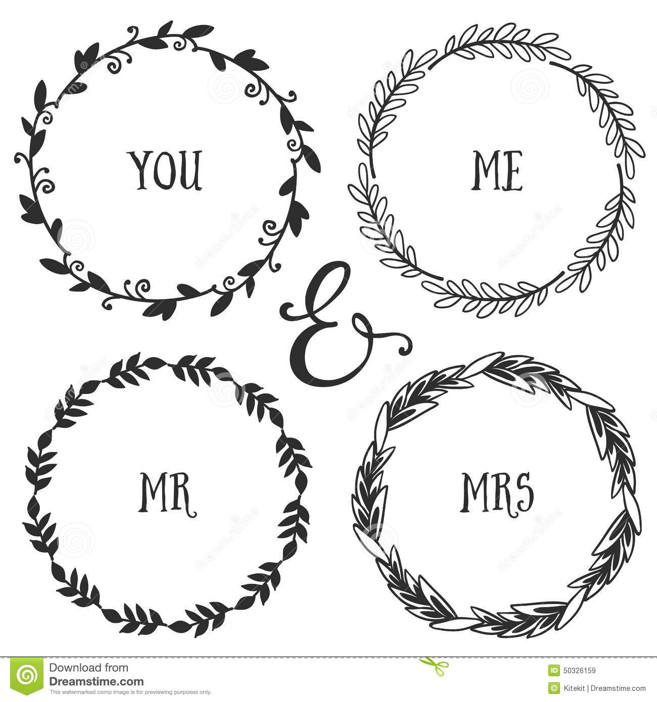 hand drawn rustic vintage wreaths with lettering floral vector royalty free stock images