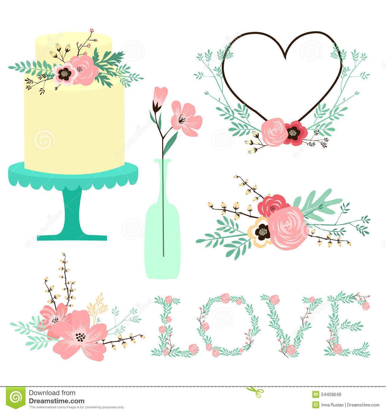 Hand Drawn Rustic Wedding Vector Clip Art