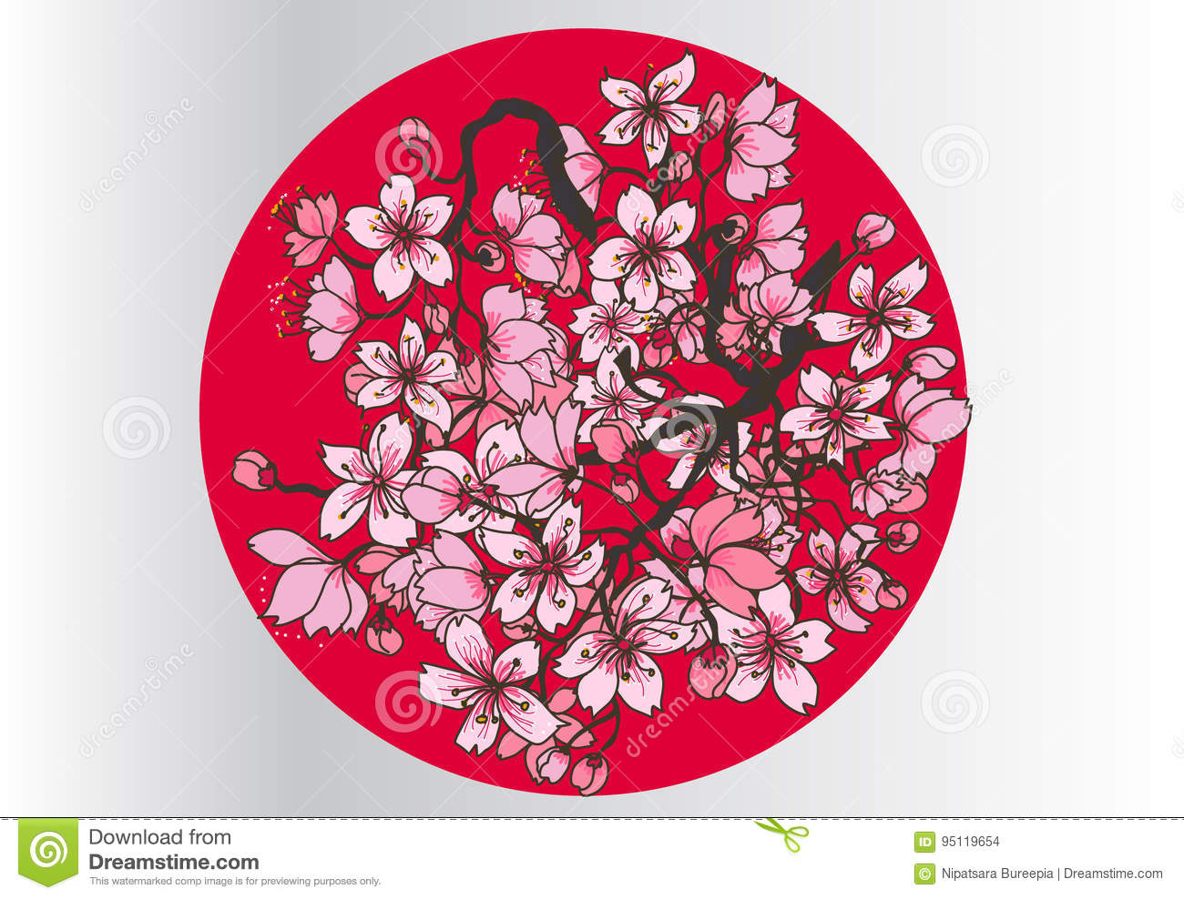 Hand Drawn Sakura Plant In Circle Stock Vector - Illustration of ...