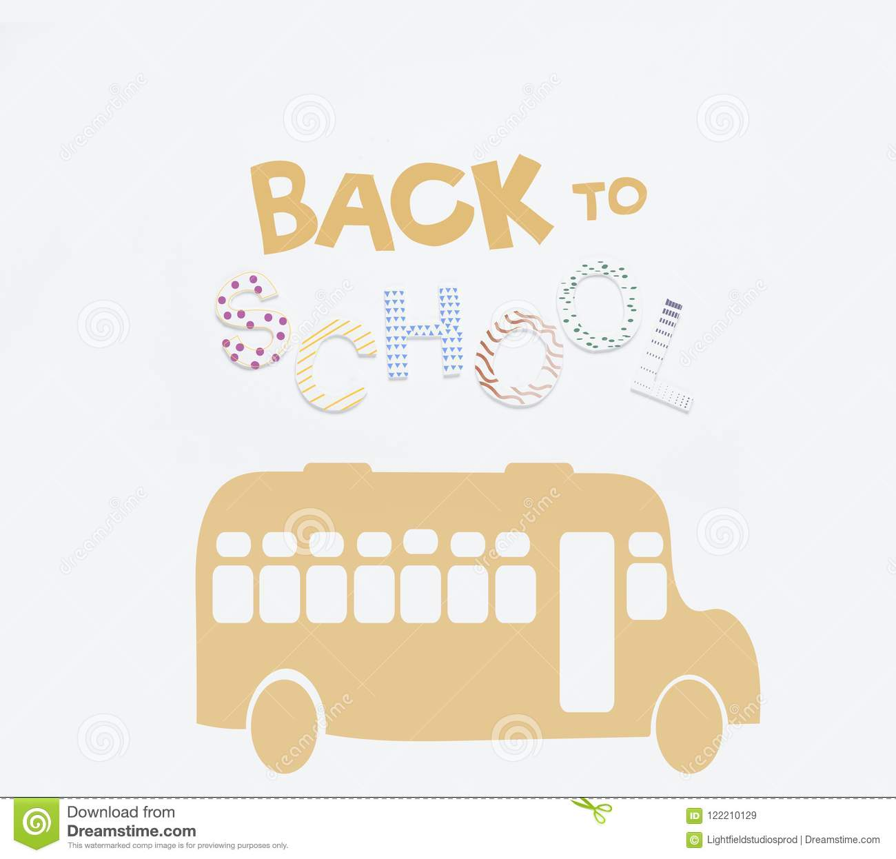 School Bus And Lettering Stock Illustration Illustration Of