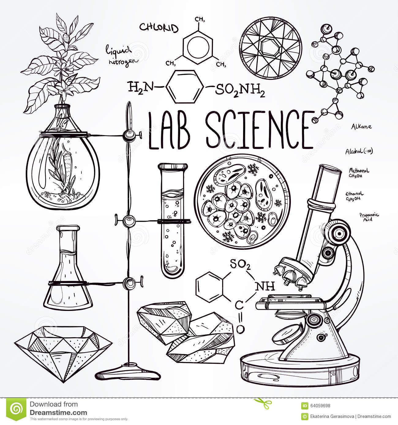 Hand Drawn Science Lab Icons Sketch Set Stock Vector