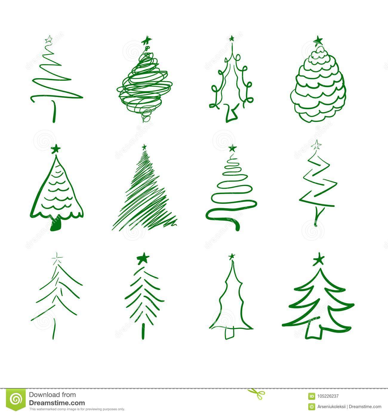 Christmas Tree Icons.Hand Drawn Scratched Christmas Tree Icons Stock Vector