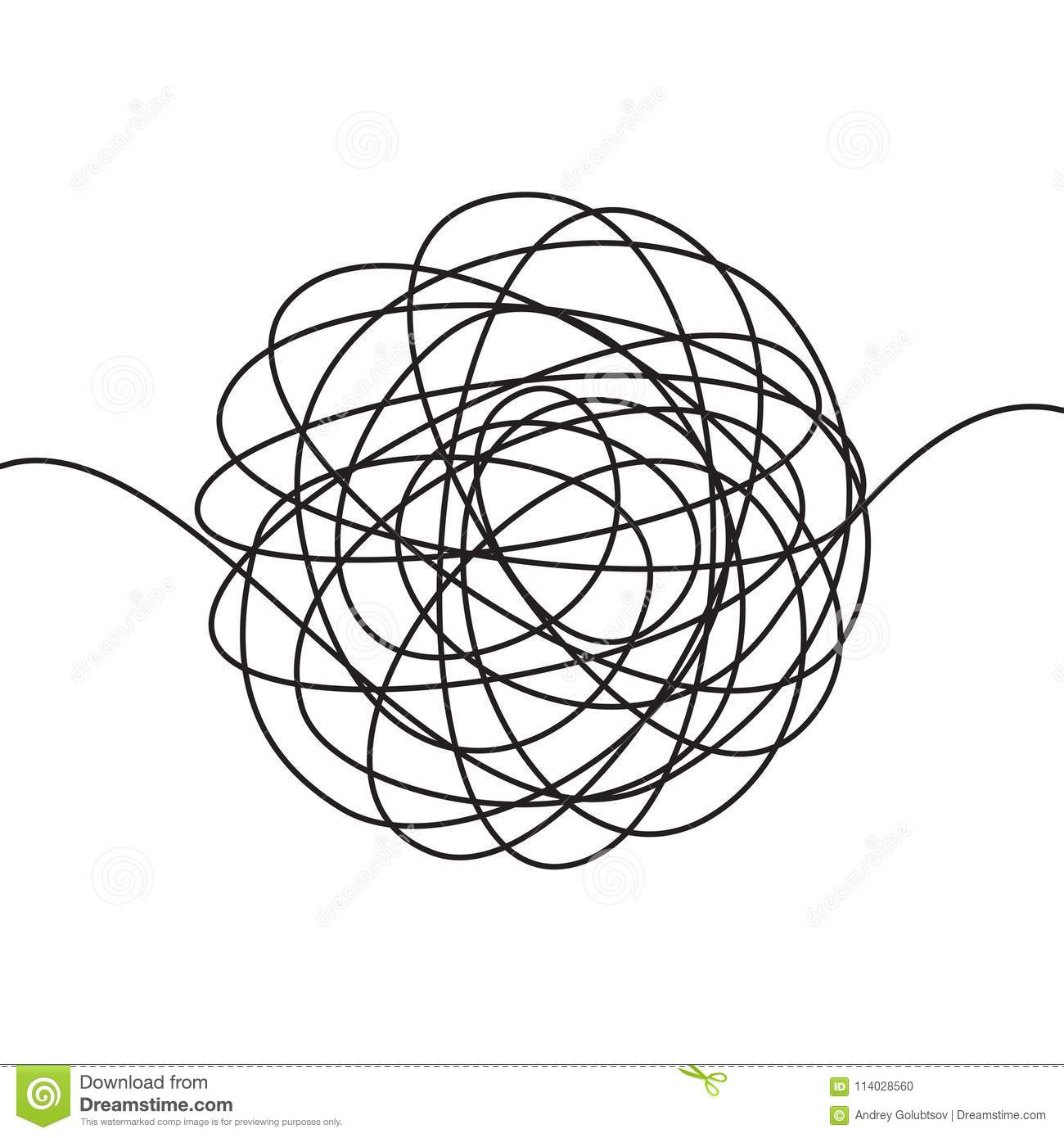 Hand Drawn Scrawl Sketch Or Black Line Spherical Abstract
