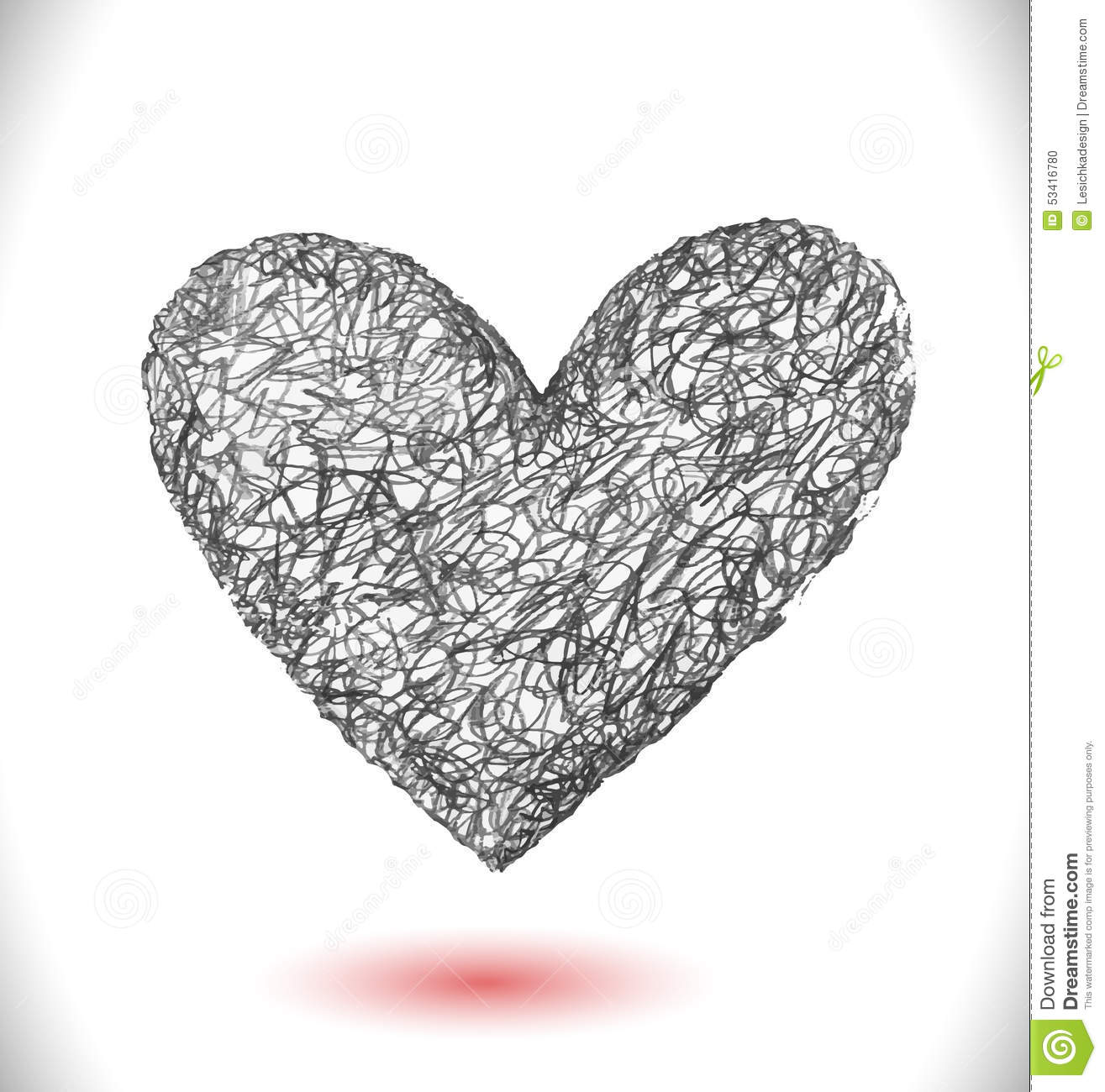 Scribble Line Drawing : Hand drawn scribble heart stock illustration image
