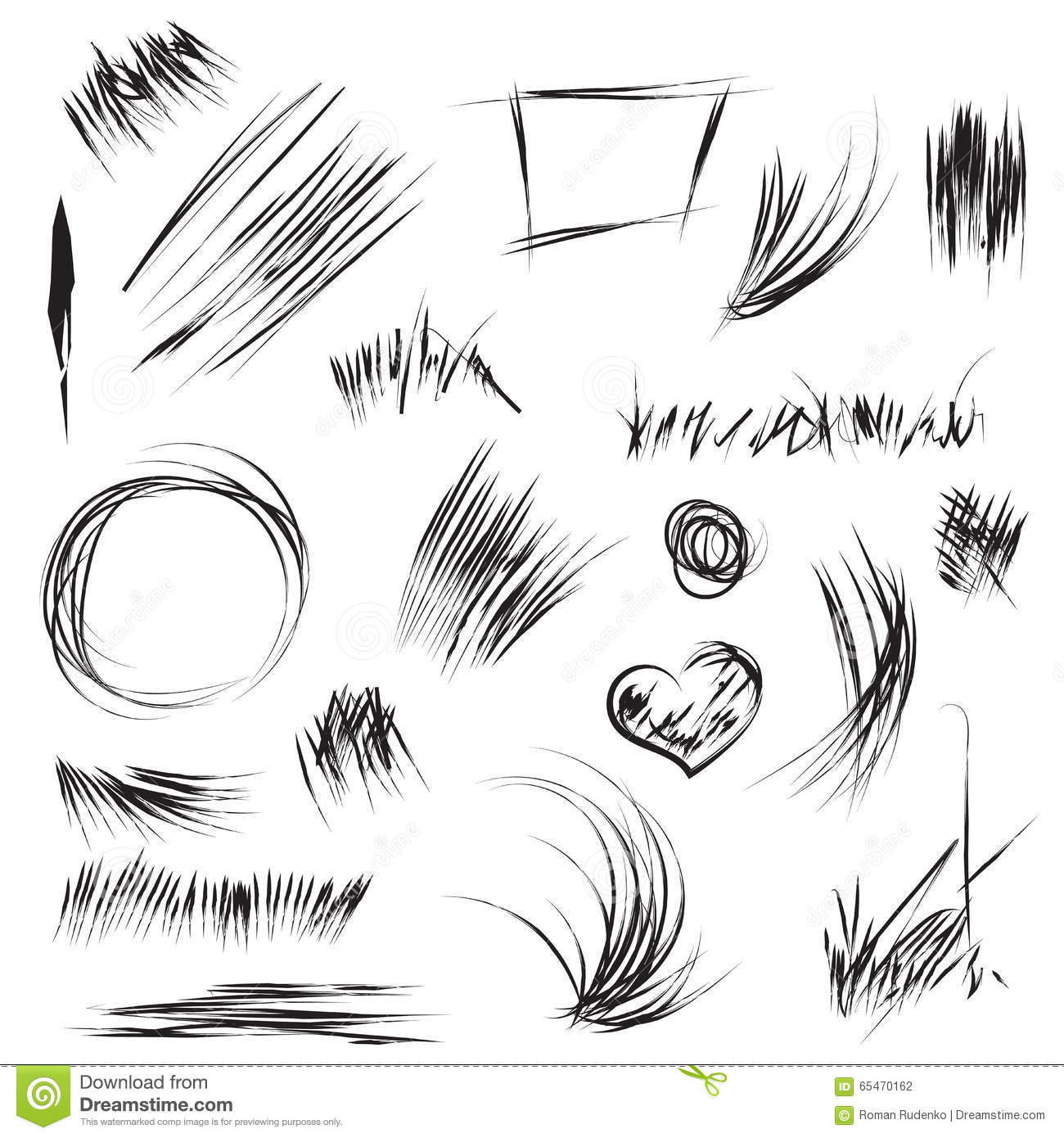 Hand drawn scribble and sketch shapes in vector abstract line and scribble for texture art pensil drawing with scratch