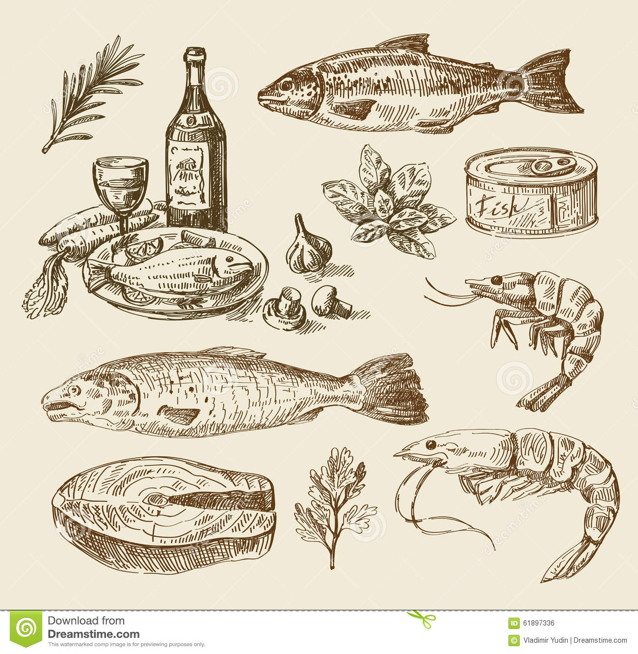 Hand Drawn Sea Food Sketch Stock Vector. Illustration Of Cooking - 61897336