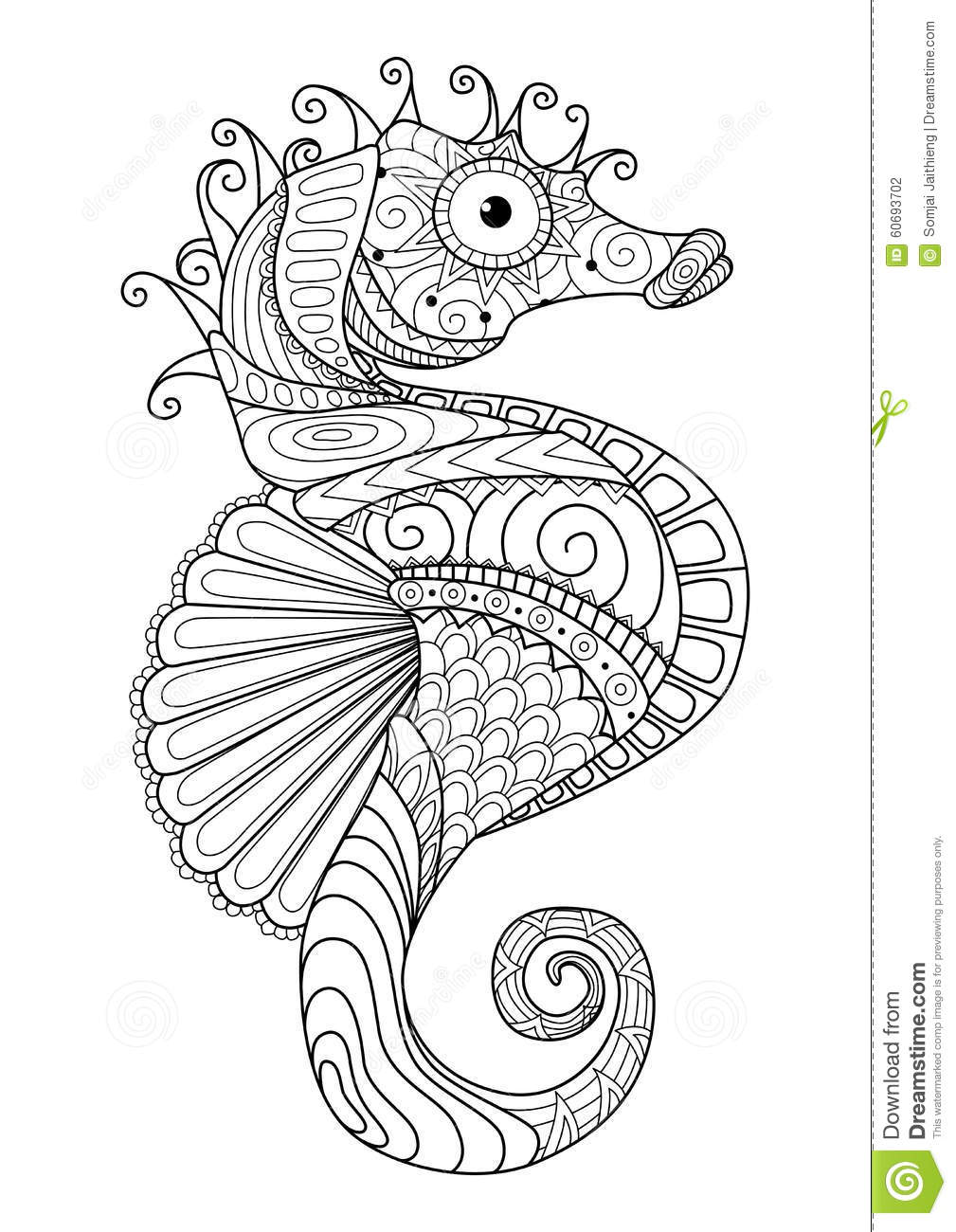 hand-drawn-sea-horse-zentangle-style-coloring-page-t-shirt-design-effect-logo-tattoo-60693702 Horse Coloring Page