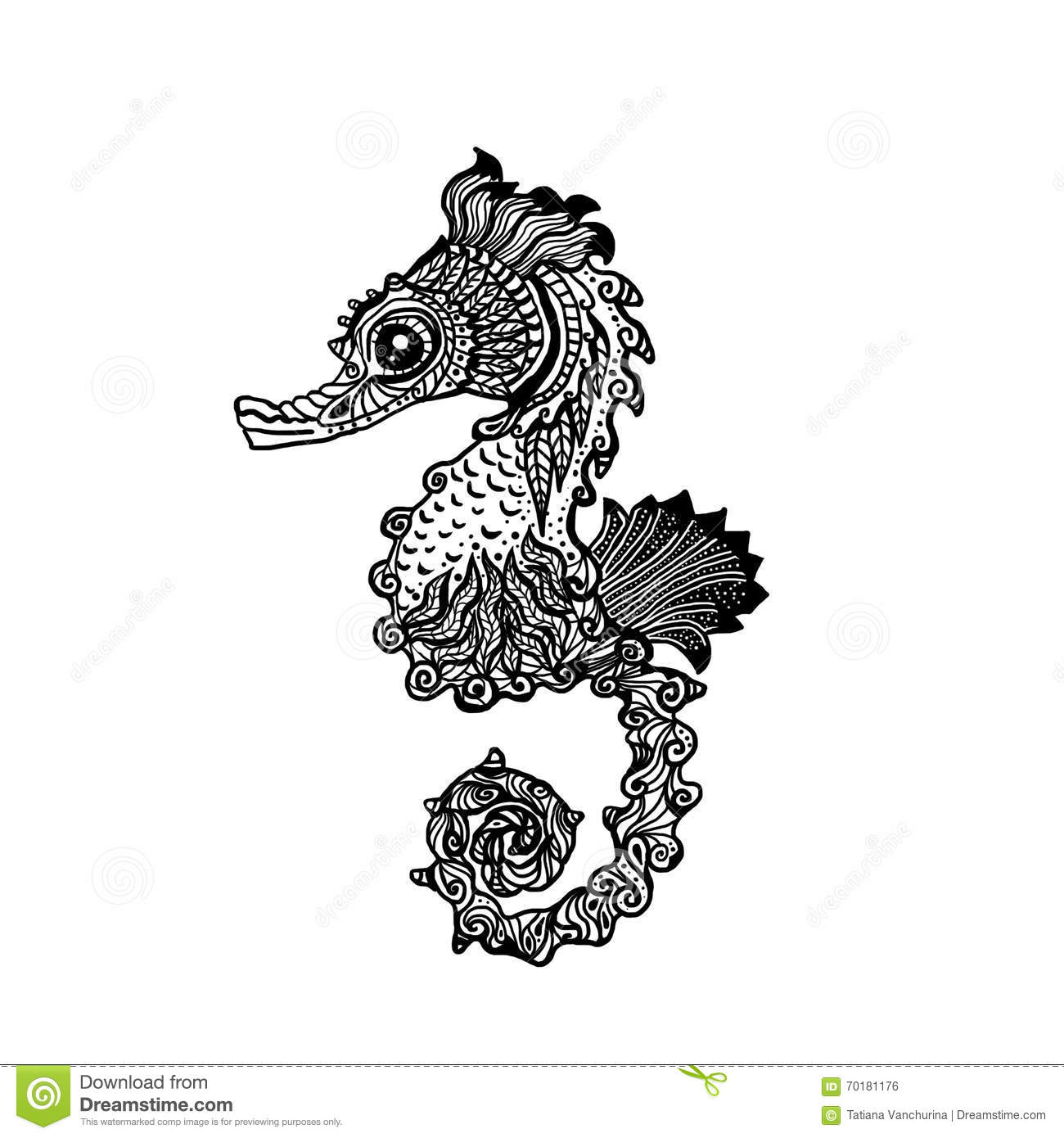 Hand Drawn Sea Horse Zentangle Style Stock Vector