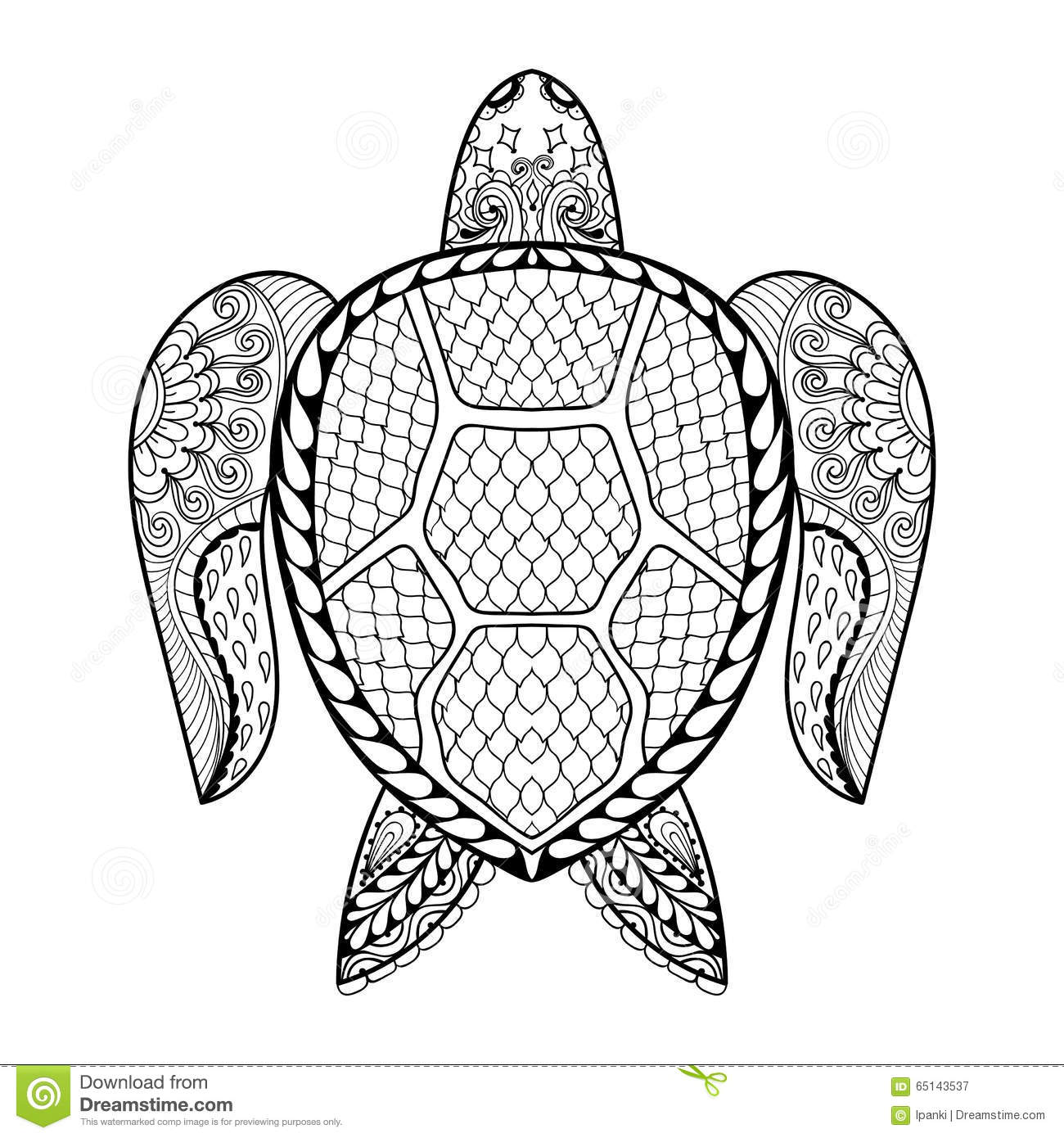 Hand Drawn Sea Turtle For Adult Coloring Pages In Doodle ...