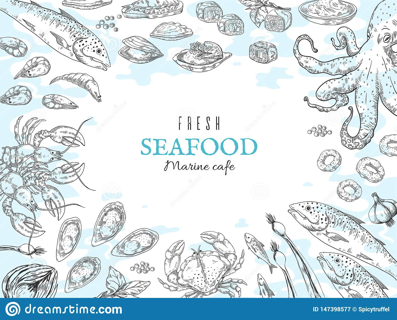 Hand drawn seafood background. Fish restaurant poster, gourmet dinner table, marine rustic poster. Vector ocean food
