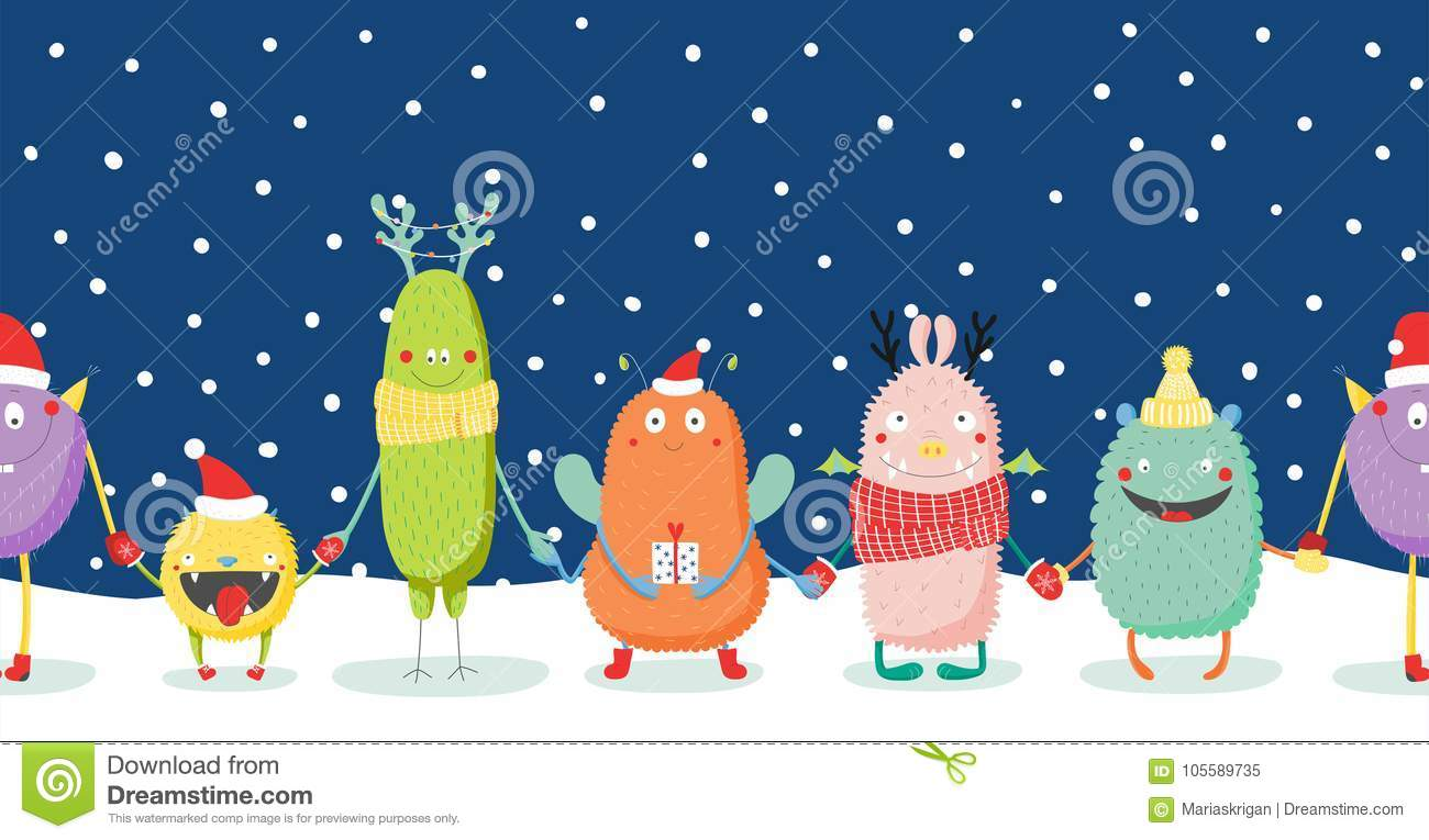 Christmas card with cute funny monsters