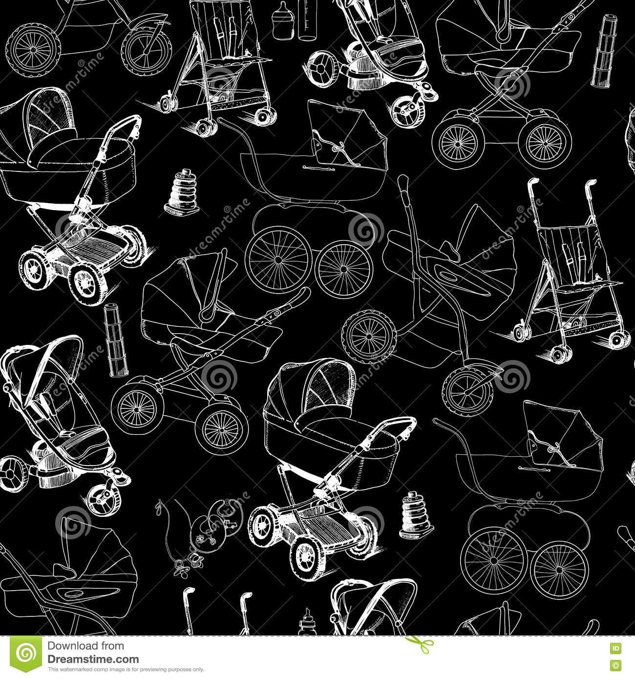 Hand Drawn Seamless Pattern Of Baby Prams, Carriages And ...