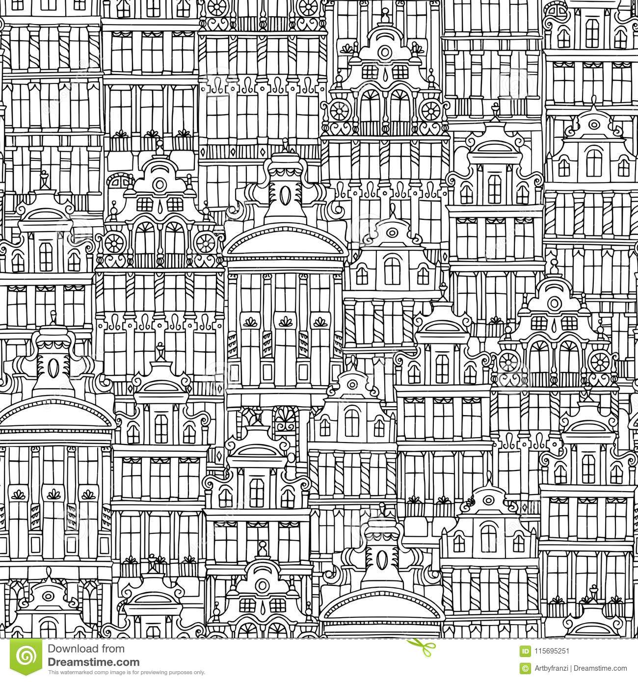 Hand drawn seamless pattern of Belgian houses