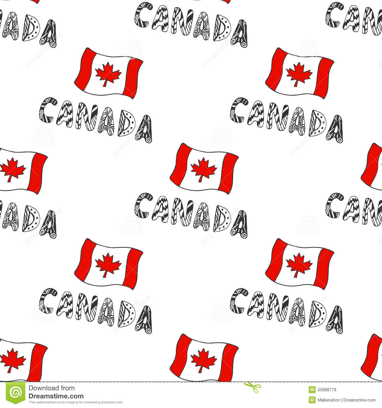 hand drawn seamless pattern with canada flag and doodle canadian flag vector free canada flag vector free