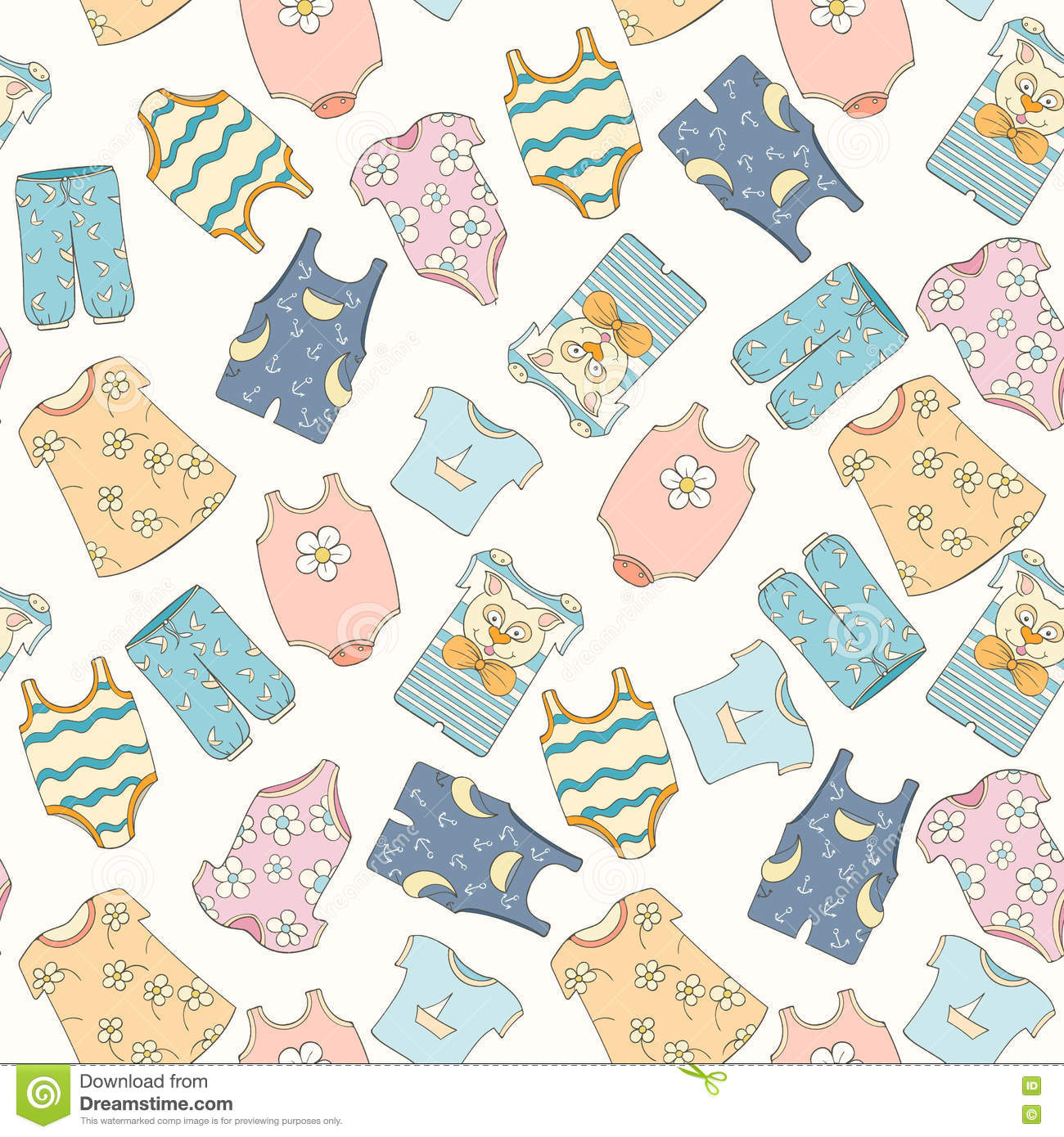 Hand Drawn Seamless Pattern Of Children Clothes Stock Vector Illustration Of Child Childhood 78884355