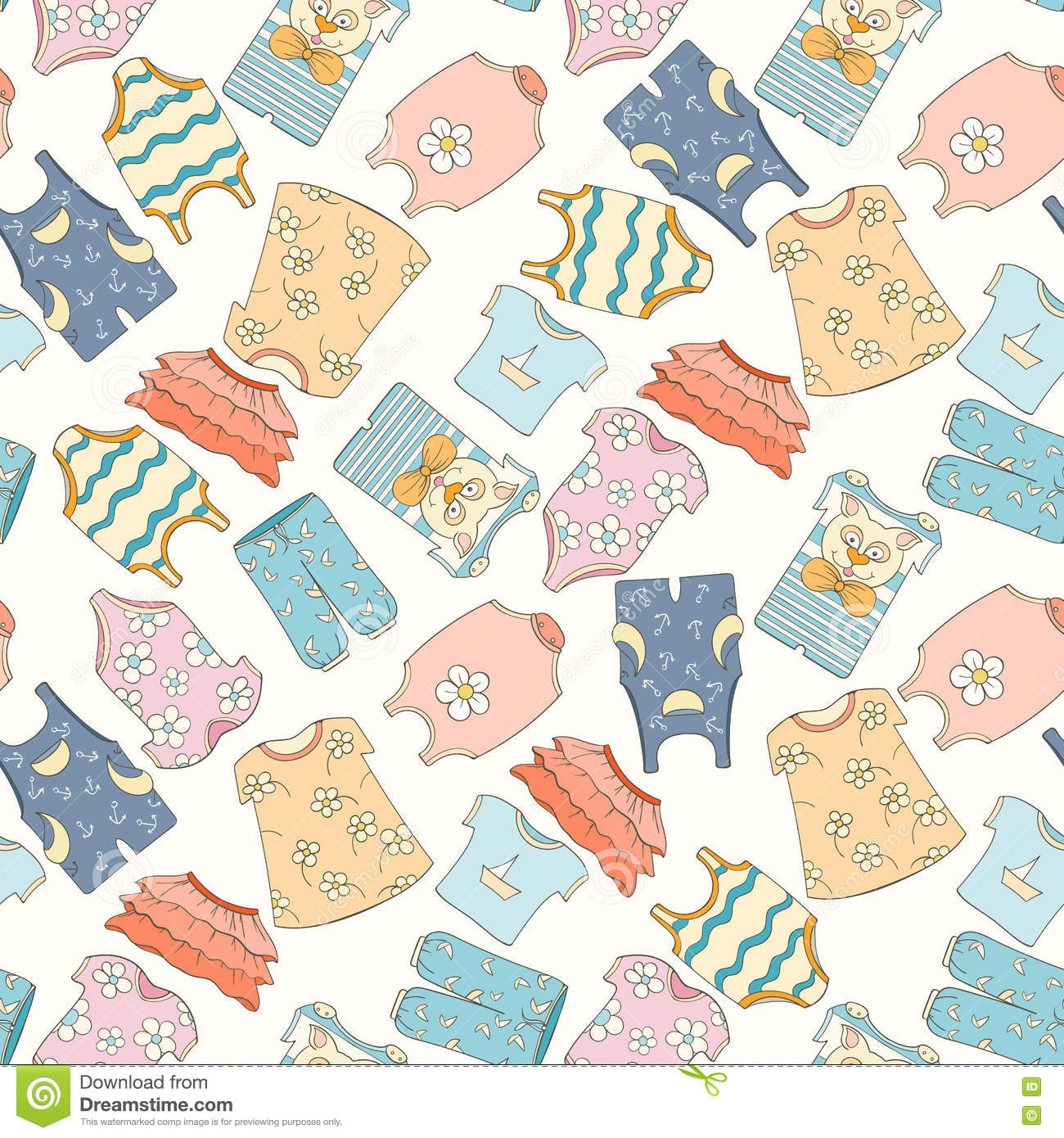 Hand Drawn Seamless Pattern Of Children Clothes Stock Vector Illustration Of Drawing Cloth 78884612